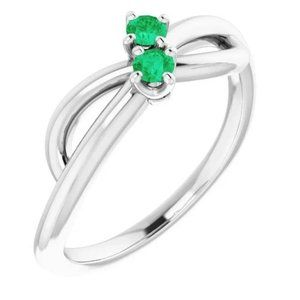 Colombian Emerald Ring 0.30 Carats Infinity Twist
